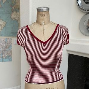 Prada striped top low back red white 40 Italy